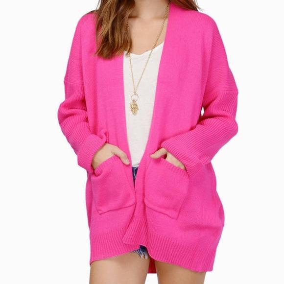 Tobi Sweaters Valentines Day Hot Pink Cardigan Sweater Poshmark